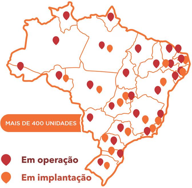 Mapa de Unidades SUPERA - Mais de 100 escolas