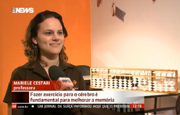 Professora do SUPERA dá entrevista sobre ginástica cerebral para a Globo News