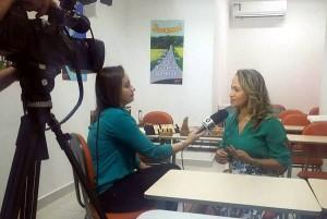 Equipe da Globo em entrevista com Alessandra Trentino, franqueada do SUPERA Cuiabá (MT)