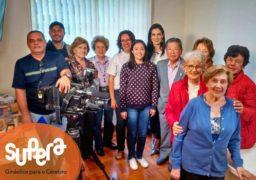 Alunos reunidos do SUPERA Vila Mariana para gravação com a equipe da TV Record